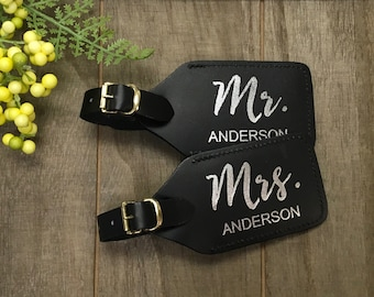 Luggage Tag - mr & mrs leather luggage tag - foil leather luggage tag - personalized - real foil and leather - set of 2 - wifey/hubby