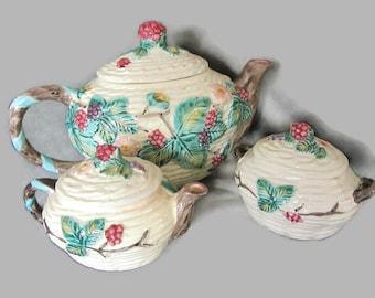 The Haldon Group 1988 Tea Set, Berries Design, with Teapot, Creamer, and Sugar Bowl