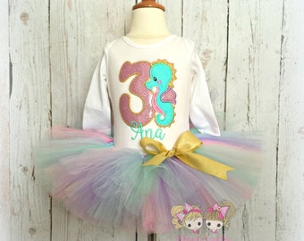 Seahorse birthday outfit - seahorse tutu outfit - beach themed birthday outfit - 1st birthday outfit - custom birthday outfit