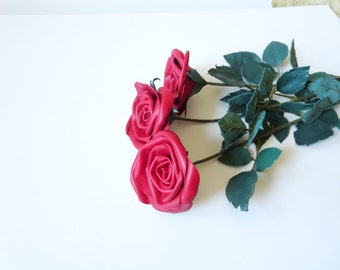 Classic Red Rose  Single Stem  Flower Leather  bouquet  Wedding 3rd Anniversary Gift Long Stem Flower Valentines Day