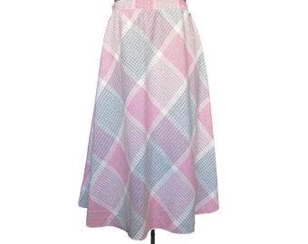 Vintage Plaid Skirt // Vintage 80s Skirt // 80s Plaid Skirt // Full Plaid Skirt // Pink Plaid Skirt M/L