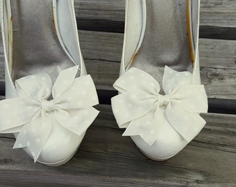 Ivory Dot Shoe Clips, Bows, Bridal Shoe Clips, Grosgrain Bow Shoe Clips,  Shoe Clips Shoes Bows, Shoe Clips for Wedding Shoes,