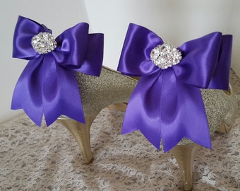 Purple  Wedding Shoe Clips,Bridal Shoe Clips,  MANY COLORS, Satin Bow Shoe Clips, Rhinestone Clips, Clips for Wedding Shoes, Bridal Shoes