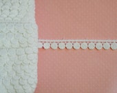 "White Cotton Venice Lace. 3/8"" Width. Narrow White Cotton Trim. 1 YARD."
