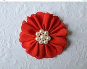 "ON SALE Red Fabric Flower, Pearl Center. 2.5"". 1 Flower ~Annalea Collection"