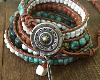 Turquoise Beaded Leather Wrap Bracelet with feather charm 5x, Boho Bohemian
