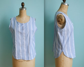 vintage 80s blue and white striped chambray tank top / womens size large