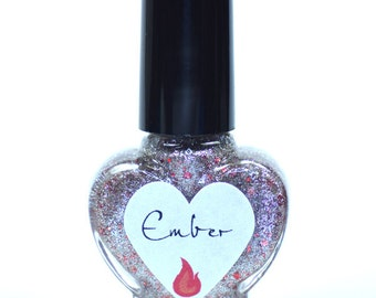 Ember Silver Foil and Red Glitter Nail Polish 5ml Mini Bottle