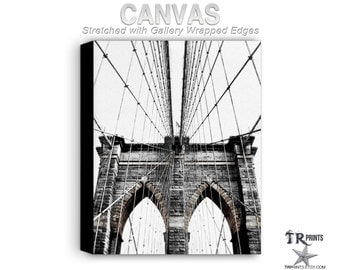 New York Brooklyn Bridge Cityscape - Stretched Canvas Print - Artwork Print on Canvas