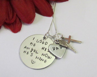 DAD Rememberance Necklace with angel wing//Dad in heaven gifts//Remember love one//Father's Day Gifts//Loss of dad gifts//Remember gifts