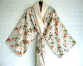 Kimono English Rozes Pink Yellow Creme White Floral Wedding Kimono Lingerie Cover Up Gown Robe