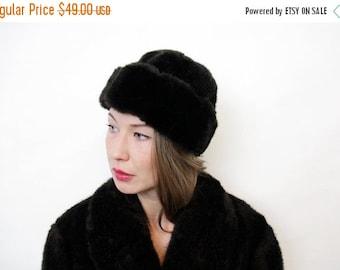 ON SALE Vintage Matching Dark Chocolate Brown Genuine Fur Hat