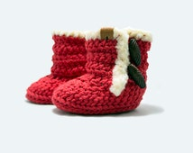 Crochet Baby Snuggie Boots Size 3-6M: Red K1022