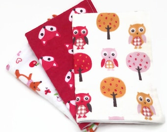Burp Cloths / Set of 3 Double thickness flannel: Fox and owl, red