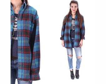 Plaid FLANNEL Shirt Button Up 90s Grunge Blue Red Checkered Long Sleeve 1990s Thick Vintage Women Men Button Down Retro Large to XL