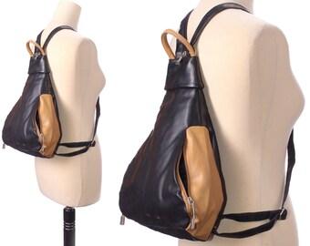 Vegan Backpack 90s Medium Size Faux Leather Beige Black Two Tone PACK BAG Vintage Triangle Rucksack Transformable Unistrap Knapsack