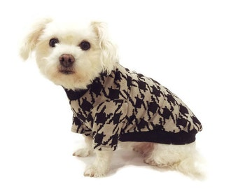 Black and Tan Houndstooth Dog Sweater-Dog Sweaters-Dog Jumper-Dog Shirt-Dog Clothing-Dog Apparel-Pet Clothes-Sweaters for Dogs-Dog Jumpers