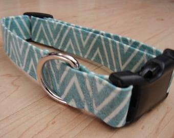 Aqua seafoam Chevron dog collar