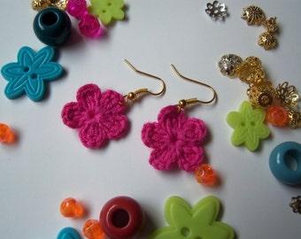 Fuchsia Crochet Flower Earrings. Handmade Earrings.