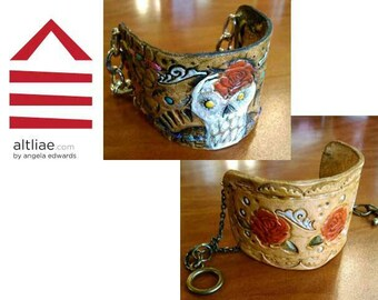Made-to-order hand-tooled leather cuff