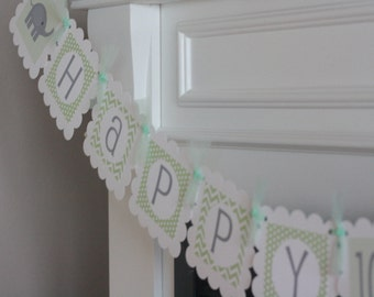 Happy 100 Days Korean Baek-il Light Green, White & Grey Chevron Polka Dot Elephant Banner - Ask About Our Party Pack Specials