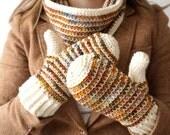 Autumn mitten and cowl crochet pattern glove  PDF instant download scarf knit look malabrigo