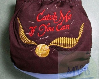 """Cloth Diaper Embroidery """"Catch Me If You Can"""""""