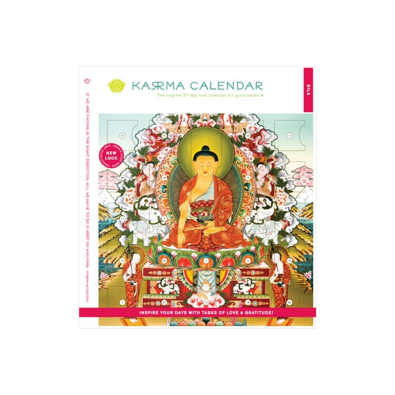 SILA Karma Calendar: 27-day Task Calendar with Carnelian Wrist Mala for Transcendental Virtue and Freedom From Causing Harm
