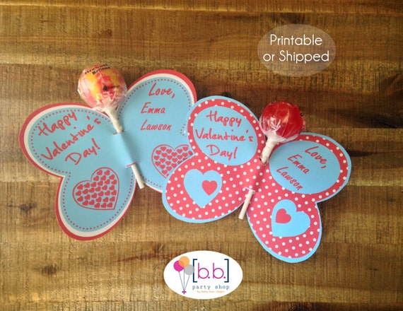 Butterfly Lollipop Personalized Valentine's Day Cards (Blue & Red)- Printable or Shipped