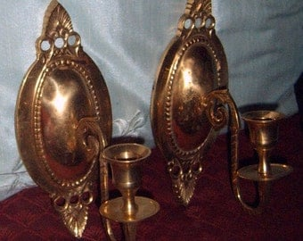 SALE,Vintage, Brass Sconce, Set of Two, Wall Decor, Candle Sconce, Ornate Sconce, Wall Hanging