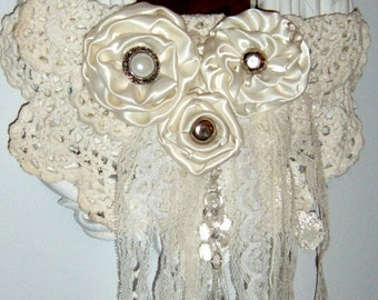 Vintage, Syroco, Wall Mirror, Altered mirror, Satin Roses, Embellished Mirror, Chalk Painted ,Linen White