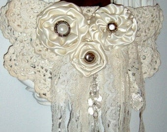40% Off, Vintage, Syroco, Wall Mirror, Altered mirror, Satin Roses, Embellished Mirror, Chalk Painted ,Linen White