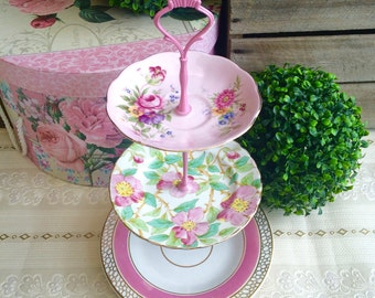 3 tier Pink and Green Floral Cake Stand Tuscan Queen Anne