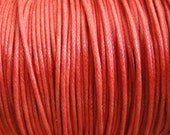 10 Yards - 1mm Red Waxed Cotton Cord