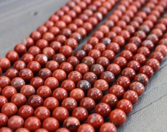 8mm Red Jasper Beads -  Round Smooth - 16 inch Full Strand