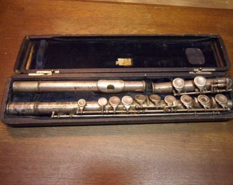1920s Cadet Flute with case,,, antique musical instrument,  nickle plate