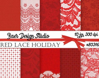 50% off:Lace Digital Paper, Red Lace Digital Paper, Christmas Digital PaperPhotography Background, Digital Paper Commercial Use, #80316