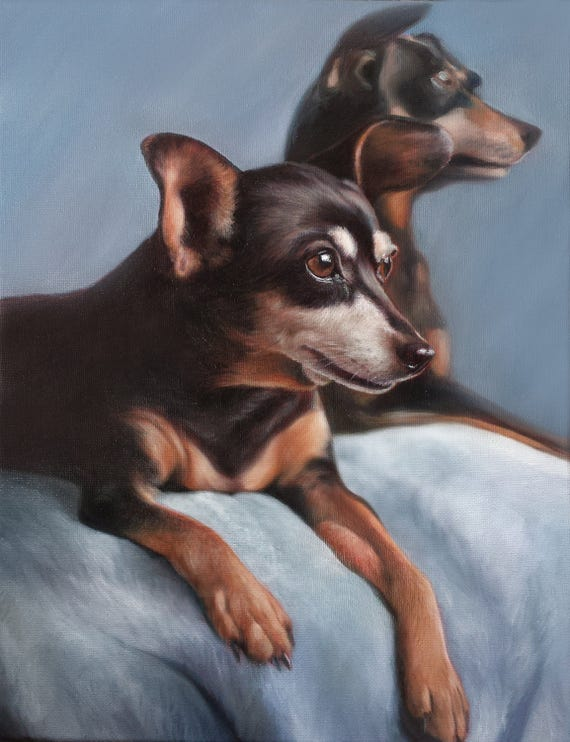 Reserved for Nancy - Custom Pet Portrait - PET PAINTING - Oil Painting - Miniature Pinscher - Dog Portrait - Custom Gift