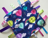 Balloons and Rainbows Tag Blanket with your choice of Minky // In Stock, READY TO SHIP