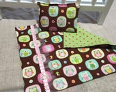 """Small Owls 18"""" Doll Blanket with Pillow"""