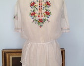 RESERVED Lovely embroidered cotton peasant blouse medium large