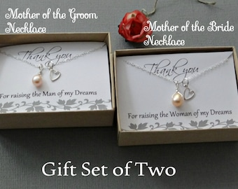Mother of the bride & Mother of the groom necklace gift set freshwater pearl SALE sterling silver heart charm necklace simple MOG MOB gifts