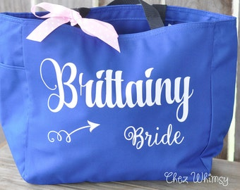 Bride Tote, Bridesmaid Tote, Personalized Bag, Tote with Large Print, Bag with Name, Monogrammed Purse, Bridal Party Gifts, Glitter Monogram