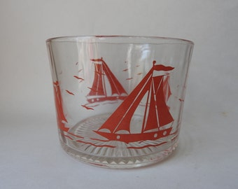 Red Sailboat Glass Ice Bucket