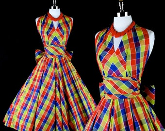 Vintage 1950s 50s Dress --- Plaid Cotton Maurice Everett American Designer Strapless Party Wedding Sash Bow Full Skirt Metal Zipper XS S