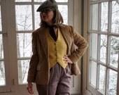 Vintage Retro Corduroy Blazer And Yellow Plaid Wool Waistcoat Vest/Vintage 1970s/Steampunk Fashion Set/Size Small
