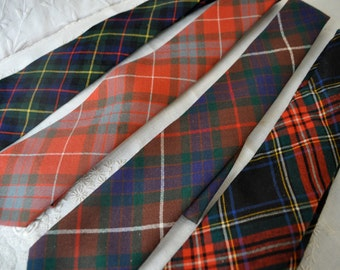 Vintage Tartan Plaid Necktie/Retro Plaid Wool Neck Ties/Choose Between Four Different Clan Tartans