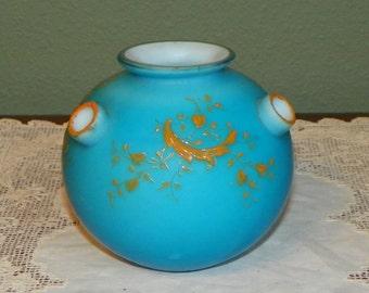 Antique Victorian Unique Rare Satin Glass Rosebowl Rose Bowl Blue floral Vase holes yellow gold Painted Victorian