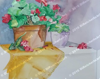 Painting-Watercolor Painting-Floral Still Life Art-Original Painting