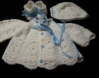 3-6 mos. baby sweater and bonnet - white with blue trim